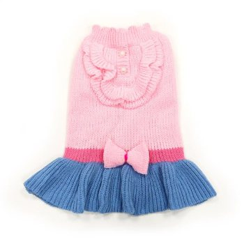 denim blue skirt, pink top and bowtie dog winter dress