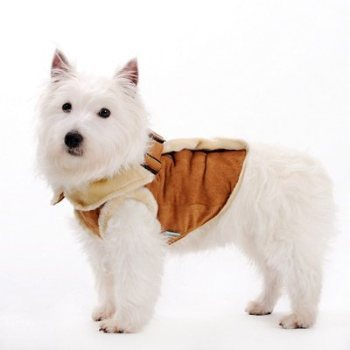 brown fluffy lined heavy winter harness dog coat