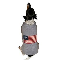 grey american flag dog sweater