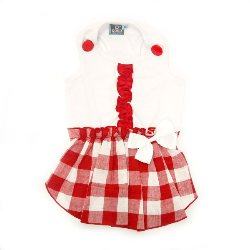 red and white bottom plaid with white top country dog dress