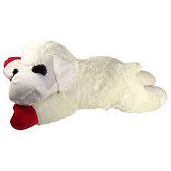 plush soft white lamb chop dog toy