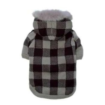 grey and black checkered dog sweater coat
