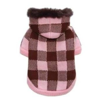 pink checkered warm dog sweater