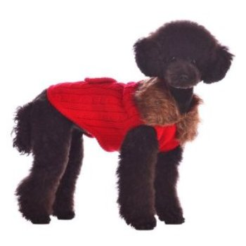 red cashmere mix dog sweater with faux fur collar