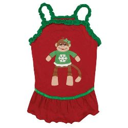 red christmas holiday dog dress with monkey