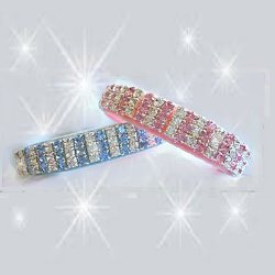 Pastel Colored Collar with pink and white or blue and white crystals