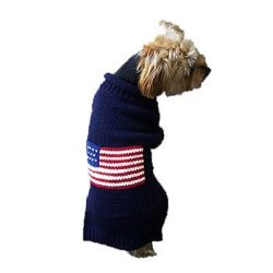 blue american flag dog sweater