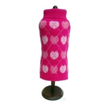 Pink knitted Dog Sweater with muliple hearts design