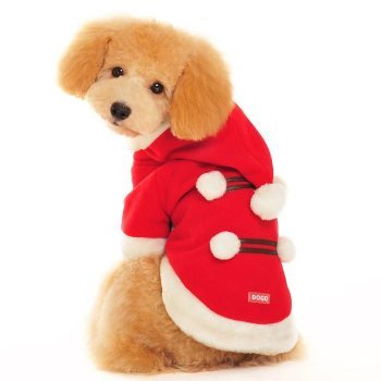 red with white pom poms dog christmas coat