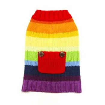 Rainbow striped Girl Dog Sweater with pocket