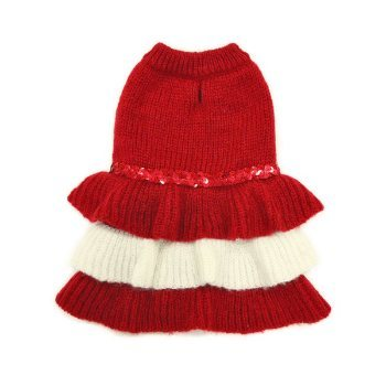 red and white tiered dog dress with sequin trim