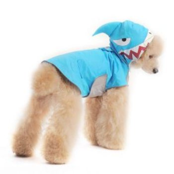 shark inspired blue dogo dog rain coat