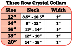 3 row crystal collar size chart