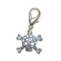 clear rhinesone skull charm for dog collar