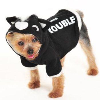 black and white skunk dog hoodie costume