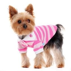 pink and white striped dog polo shirt