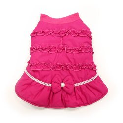 pretty pink ruched  Winter Dog Coat