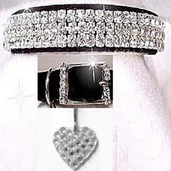 Black velvet collar with three rows of diamond like rhinestones collar
