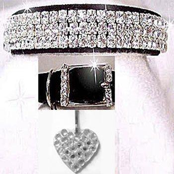 Black velvet collar with three rows of diamond like rhinestones collar