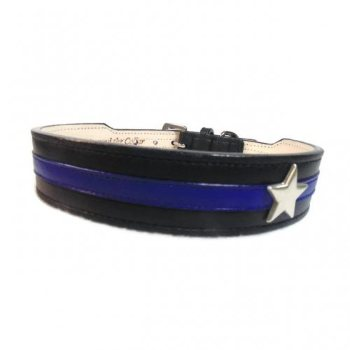 thin blue line dog collar with star
