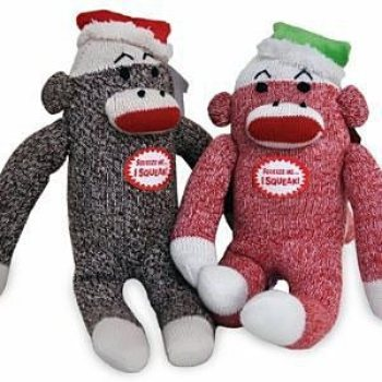Christmas Sock Monkey Dog Toy