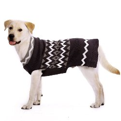 black and white zig zag pattern dog sweater