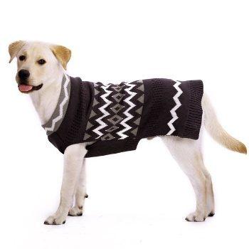 black and white zig zag pattern dog sweater