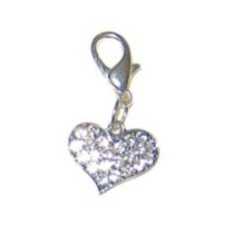 clear rhinestone studded Heart Charm for dog collar