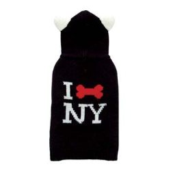 sleeveless black I Bone NY dog sweater with ears on hood