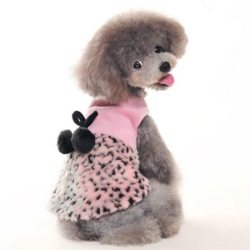 pink leopard dog dress with black pom pom tie
