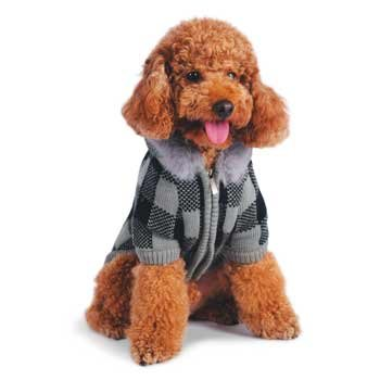 checkered cashmere mix dog  Sweater Coat