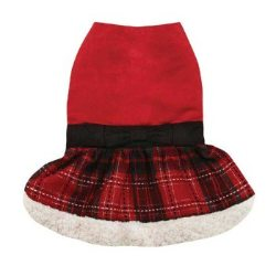 black and red tartan Chistmas dog dress