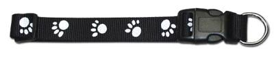 Leather Brothers Black Nylon Paw Print Dog Collar