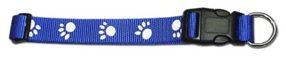 Leather Brothers Blue Nylon Paw Print Dog Collar