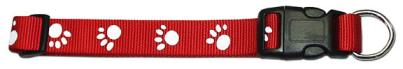 Leather Brothers Red Nylon Paw Print Dog Collar