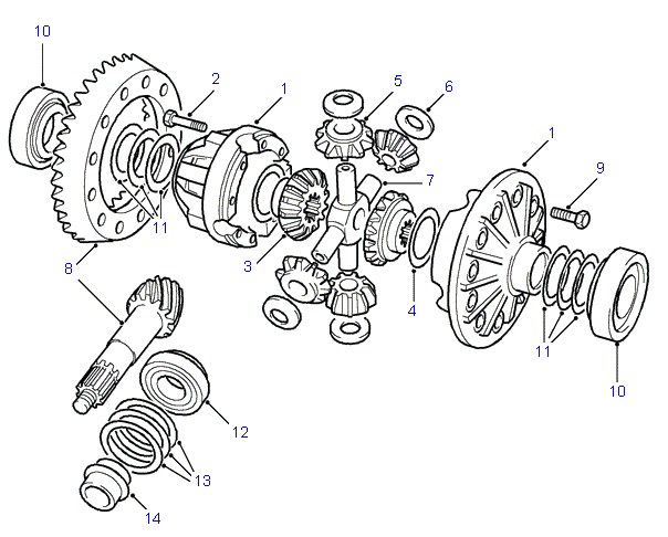 land rover parts - rear axle differential