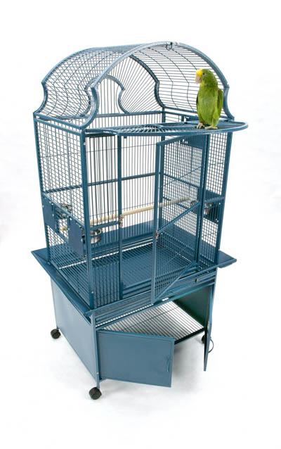 Medium fan top bird cage with storage base and fold-down platform