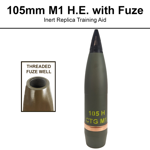 105mm M1, HE Artillery Shell (With Fuze) - Inert Replica Training Aid  (OTA-2977F NSN:6910-01-6089878)
