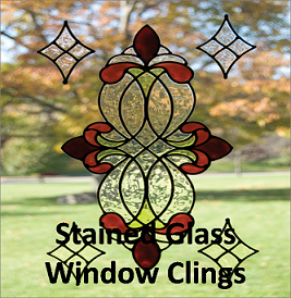 stained glass window clings SJ Home Interiors and Wall Decor   Stained Glass Window Clings stained glass window clings
