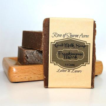 Frankincense Myrrh Goat Soap - Rose of Sharon Acres