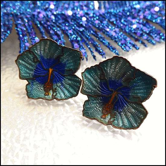 antique earrings,cloisonne earrings,antique jewelry
