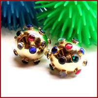 Atomic Earrings Gold Orbs Retro Rainbow Rhinestones Vintage Jewelry