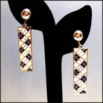 Boucher Earrings Black White Retro Dangles 1970s Vintage Jewelry