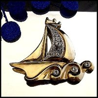 Art Deco Pin Gold Nautical Sailboat Brooch 1940s Vintage Jewelry