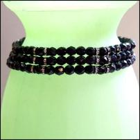 Black Glass Triple Choker Rhinestone Necklace 1950s Vintage Jewelry