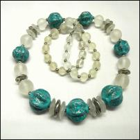 Camphor Lucite w Turquoise Big Bead Necklace 1970s Vintage Jewelry