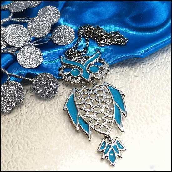 vintage owl necklace,1960s jewelry