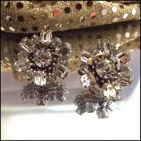Art Deco Earrings Exceptional Austrian Crystals 1950s Vintage Jewelry