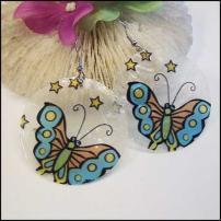 Butterfly Earrings Painted Capiz Shells Fashion Jewelry