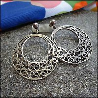Sterling Silver Hoop Earrings w Scrolls 1970s Vintage Jewelry